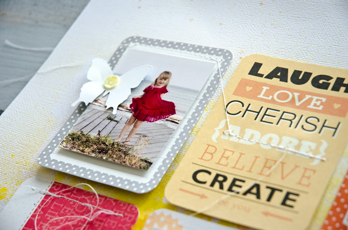 Scrapbook layout 'She wears dresses' by Nina Christensen of Nina is a Paper Nerd, using Project Life cards. #12in14challenge #12in14