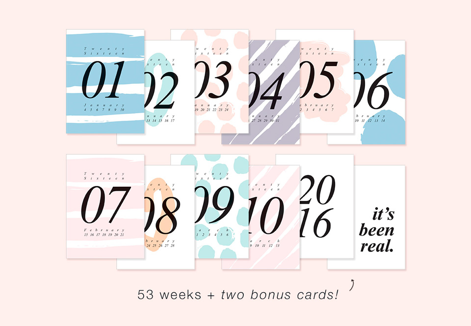 Week Number Cards for 2016. Perfect for Project Life!